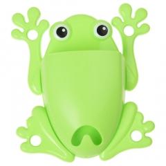 Kids Toothbrush & Toothpaste Holder Bathroom Organizer - Frog Shape Green 1 pack