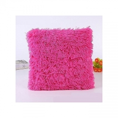 Decorative Fluffy Plush Throw Pillow Case Cushion Covers - 25cm x 25cm'' Pink 2 peices