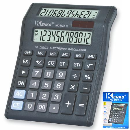 Solar Battery 12 Digit Dual Display Electronic Desktop Calculator