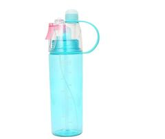 Outdoor Beach Gym Cycling Sport Mist Spray Water Drinking Bottle - 1 Pc Blue 600ml