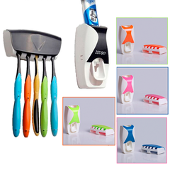 Automatic Toothpaste Dispenser Toothbrush Holder - 1 Set Multicolour 1 Set of 2 Pieces