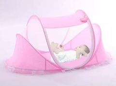 Portable Travel Folding Mosquito Net New Born Baby Cot Crib Pink 108.00 x 60.00 x 46.00 cm