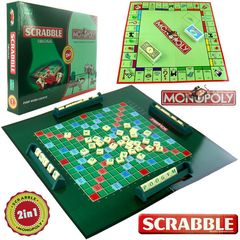 Kids Adults 2in1 Scrabble & Monopoly Board Games Multicolour 1 Pc