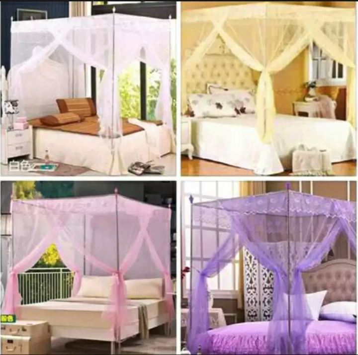 New European Court Style Three Doors Mosquito Net Purple 5x6