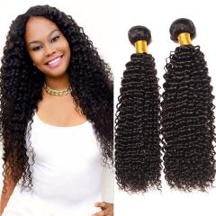 DIy wigs 7A Grade Brazilian kinky curly virgin 100% Human Hair weave Bundles Natural color Hair weft BLACK 8IN