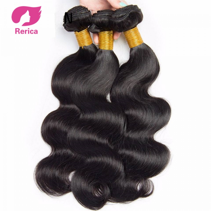 Brazilian Body Wave Hair Weave Bundles Natural Color Human Hair 1 Piece Non Remy Hair black 8in
