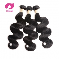 Peruvian body wave Hair Bundles Human Hair Extensions Double Weft Non Remy Hair Weave Bundle1PC black 8in