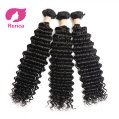Peruvian deep Wave Hair Extensions 100% Virgin Human Hair Weave 1 Piece Natural Color Non Remy black 8in