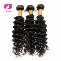 Indian deep wave Hair Human Hair Bundles 1 Piece Natural Color Non Remy Hair Extension No Tangle black 8in