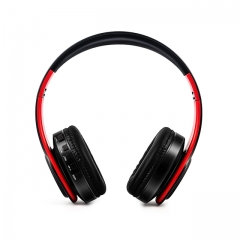 Stereo Wireless Headset Foldable Bluetooth Headphones Adjustable Earphones With Microphone Red Black