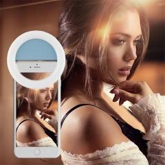 Clip-on Rechargable Selfie Ring Light Supplementary Lighting for Night or Darkness 3 Mode Brightness Blue 3.14INCH