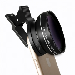 Universal 0.45X Wide Angle Lens with 12.5X Macro Lens  Professional Lens Kit For Cell Phone Camera black 37MM