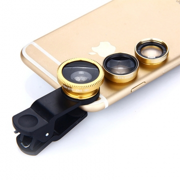 Universal 3 in 1 Clip-On Mobile Camera Lens Set Fisheye Macro Wide Angle External Clip On Lens Golden 3 in 1