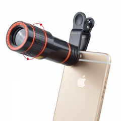 Universal 12X Zoom Mobile Phone Lens for Smartphones tablet Telephoto Clip Telescope Camera Lens black 12X