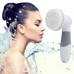 4 in1 Waterproof Electric Facial Cleaning Massager Body Cleaning Foot Care Blackhead Clean Tools white and grey