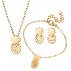 Fashion Jewelry Pineapple Shape Alloy Stud Earrings Bracelet Charms Choker Necklace Gift for Women Gold 4 Piece Set