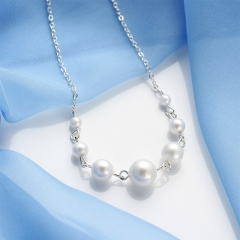 Fashion Necklace Female Imitation Pearl Necklace Jewelry Simulated Pearl Gift For Friends Pearl White one size