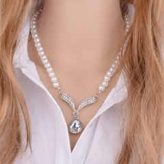 Pearl Necklace New Fashion Imitate Pearl Bead Party Simulated Pearl Jewelry For Women pearl white 2 piece set