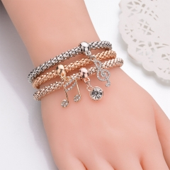 3Pcs Fashion Girls Vintage Elastic Musical Note Pendant Bracelet 3 Color Jewelry Elastic Charm Gifts Three Color one set