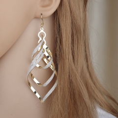 Fashion Elegant Classic Punk Gold Color Spiral Pendant Drop Earrings Jewelry For Women gold 1 Pair