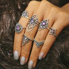 7PCS Vintage Knuckle Rings for Women Fashion Boho Flower Purple Crystal Rings Set Bohemian Jewelry purple 7 piece