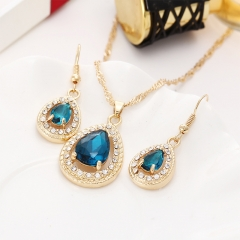 Chain Necklace crystal alloy with blue Teardrop Amulet Pendant Necklaces Earrings Jewelry blue 3 Piece Set