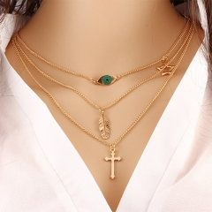 Fashion Eye Leaves Clavicle Chain Multi Layers Cross Pendants Necklace Charm Women Jewelry gold 3 piece set