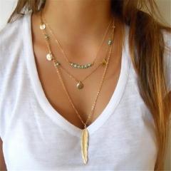Fashion turquoise Leaves Chain Multi Layers paillette Pendants Necklace Charm Women Jewelry gold 3 piece set