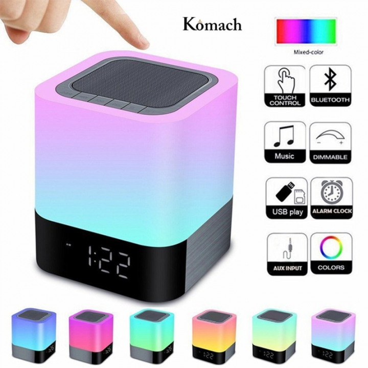Wireless Bluetooth Speaker With Touch Control Color Lamp Night Light Alarm Clock Loudspeakers White HiFi