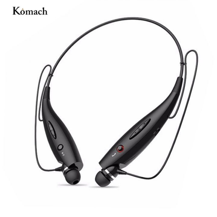 Wireless Bluetooth Headphones Neckband Sport Stereo Headset Bass Earphone for Mobile Phone black