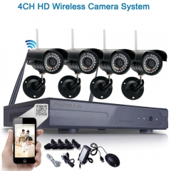 8CH 4pcs HD 720P WIFI Wireless IP Camera System NVR Outdoor Security Video black one size