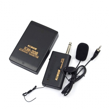 KM208 Wireless FM Transmitter Receiver Lavalier Lapel Clip Microphone Mic System black no KM208