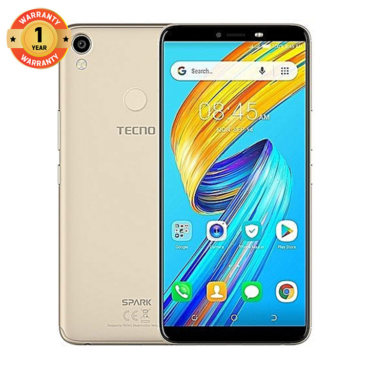 "TECNO SPARK2, 6.0""HD, 16GB+1GB, 13MP+8MP, Face Unlock, 13 months warranty champagne gold"