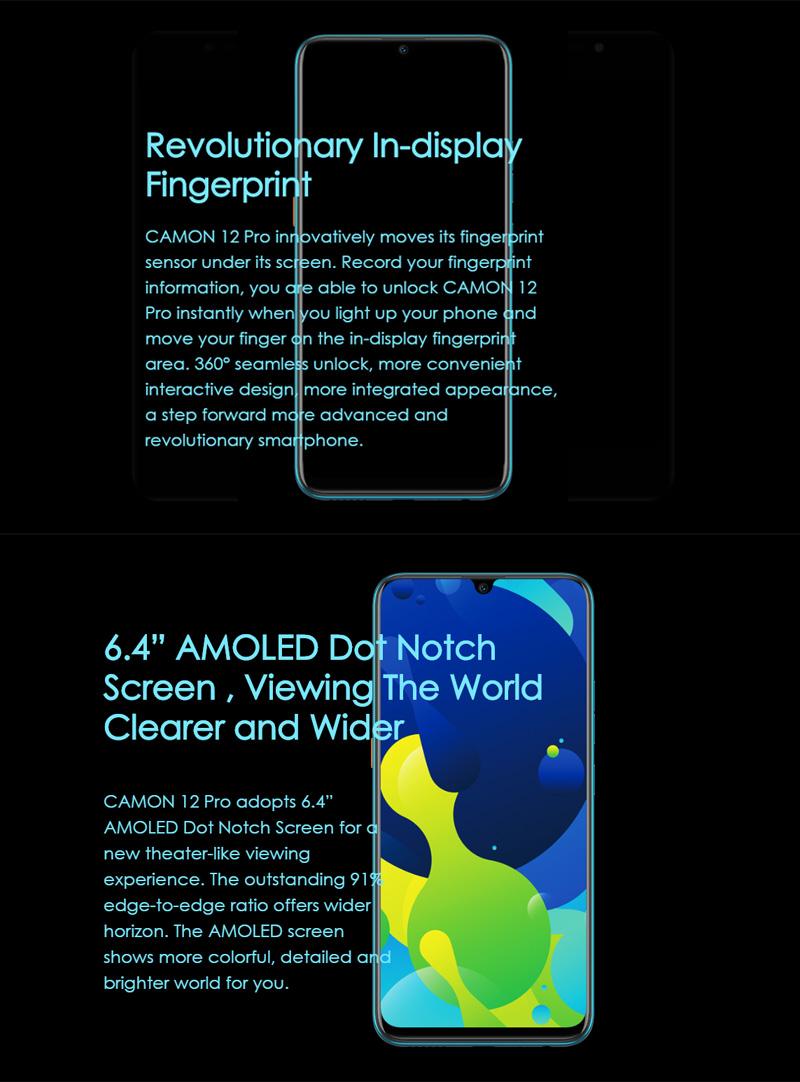 Tecno Camon 12 Pro, 64 GB + 6GB In-Display Fingerprint 6.4