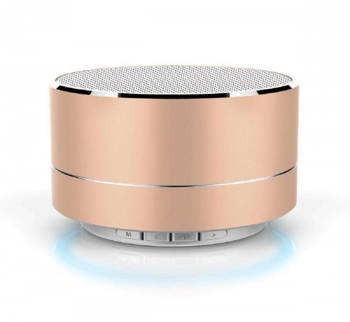 Shevi Wireless Bluetooth Speaker Mini Portable Subwoof Sound with Mic Support TF Card FM Radio AUX golden Round