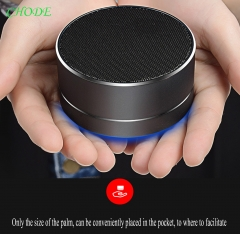 Wireless Bluetooth Speaker Metal Mini Portable Subwoof Sound with Mic Support TF Card FM Radio AUX black Round