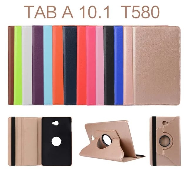"""10.1"""" PU Fabric Tablets Case Folding 360 Degree Swivel Cover for Samsung Galaxy Tab A 10.1 P580/P585 coffee 10.1"""