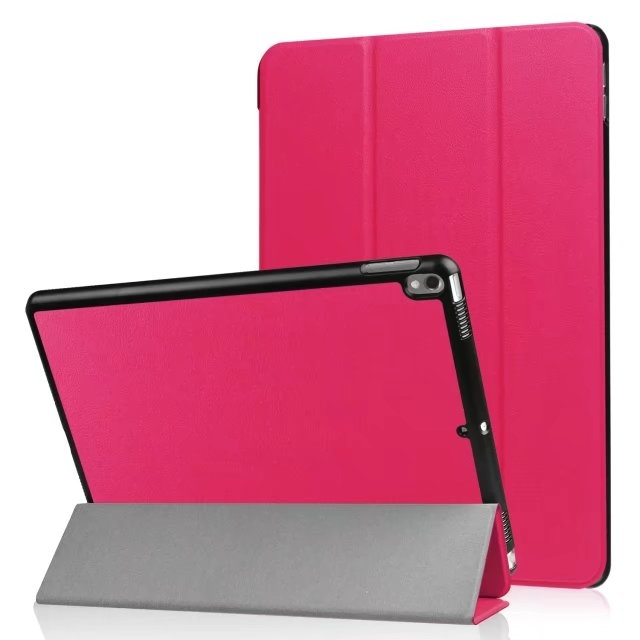 "10.5"" Smart Cover Folding Fiber Leather Tablets Slim Case for iPad Pro 10.5 rose red 10.5"