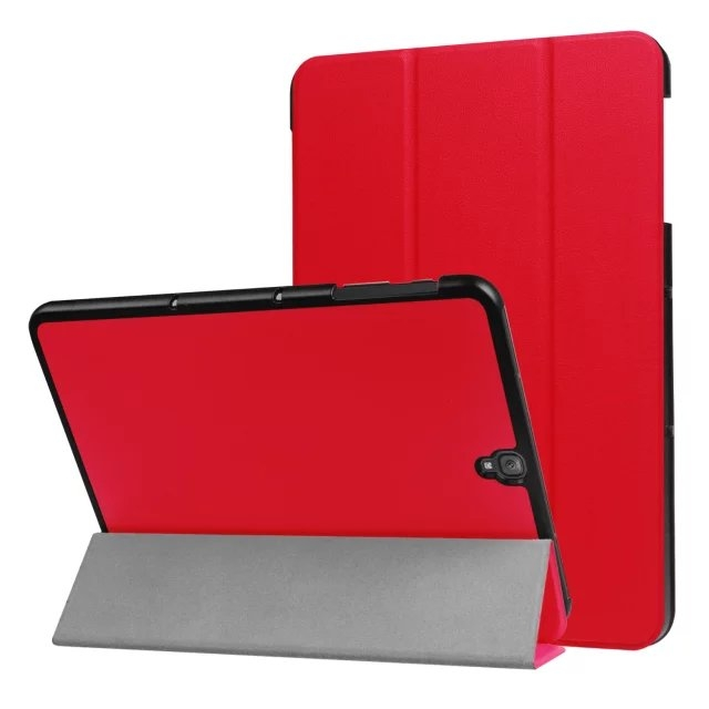 """9.7"""" Fiber Leather Tablets Case Folding Slim Cover for Samsung Galaxy Tab S3 9.7 T820 red 9.7"""