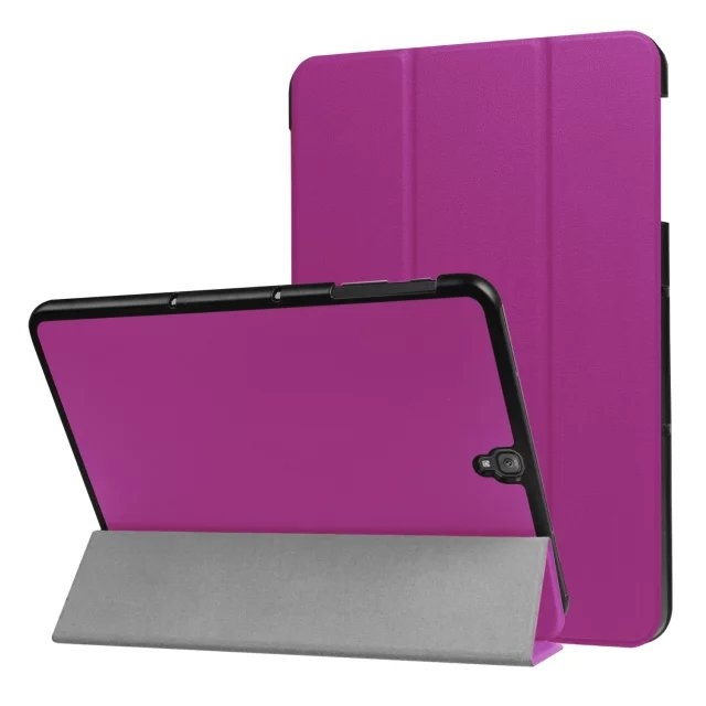 """9.7"""" Fiber Leather Tablets Case Folding Slim Cover for Samsung Galaxy Tab S3 9.7 T820 purple 9.7"""
