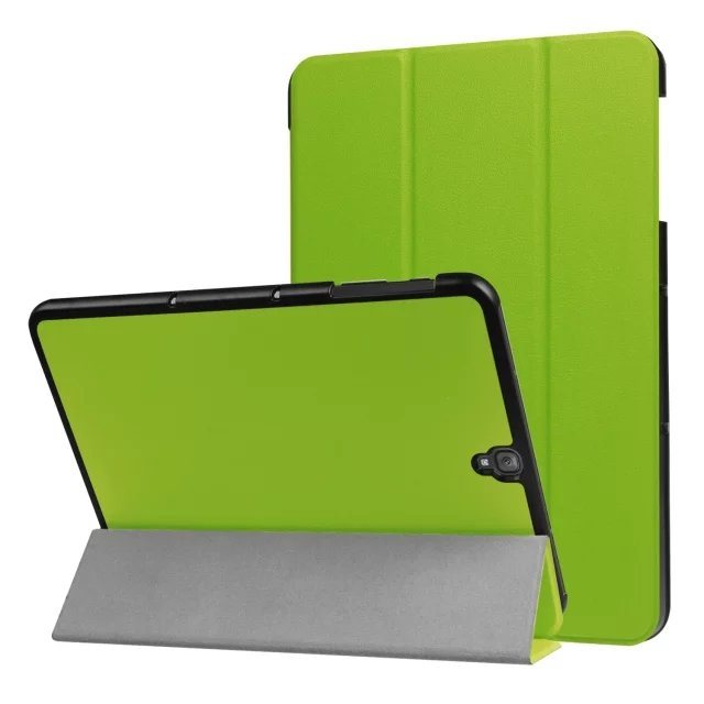 """9.7"""" Fiber Leather Tablets Case Folding Slim Cover for Samsung Galaxy Tab S3 9.7 T820 green 9.7"""