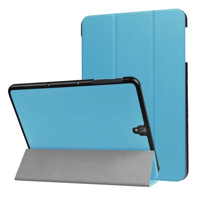 """9.7"""" Fiber Leather Tablets Case Folding Slim Cover for Samsung Galaxy Tab S3 9.7 T820 sky blue 9.7"""