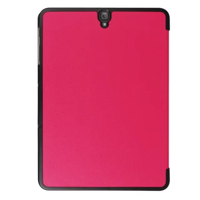"9.7"" Fiber Leather Tablets Case Folding Slim Cover for Samsung Galaxy Tab S3 9.7 T820 rose red 9.7"