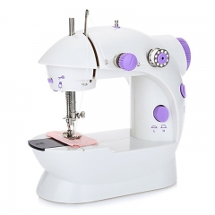 Home Tool Portable Double Speed Automatic Thread Mini Sewing Machine with Lighting Lamp Double Speed Purple