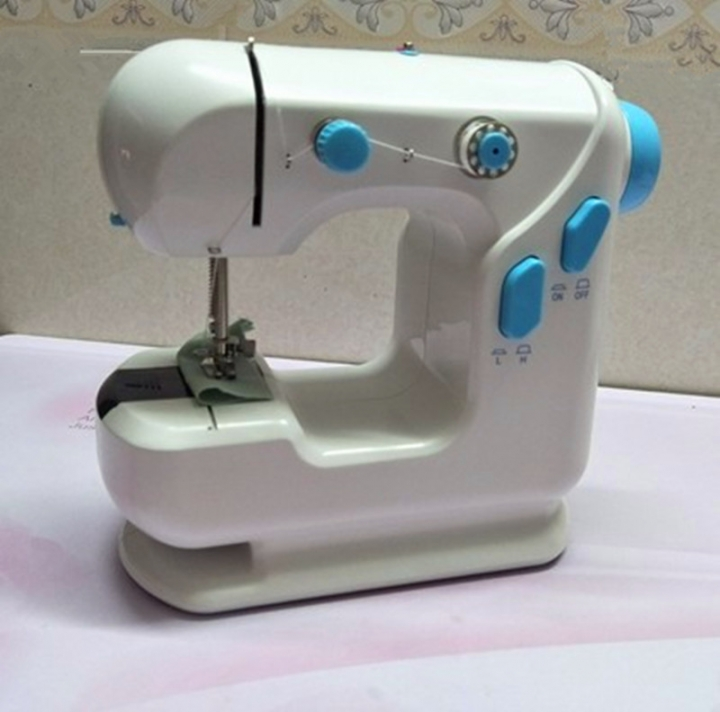 Shevi Portable Double Speed Automatic Thread Mini Sewing Machine  Lighting Lamp Durable Home Tool Blue