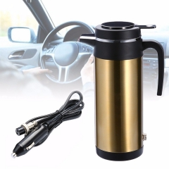 1200ml 24V/12V Stainless Steel Electric In-Car Kettle Heated Mug Water Bottle Cup Gold