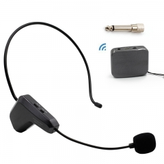 Professional 2.4G Dynamic Wireless Head-mounted Headset Microphone Flexible Voice Amplifier Black 60mA 01