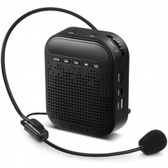 Portable Rechargeable Voice Amplifier Microphone Loudspeaker for Teaching Guide black 8w 01