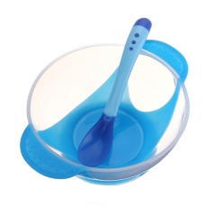 Shevi Baby Feeding Bowl Sucker Tableware With Temperature Sensing Spoon Children Plate blue one size
