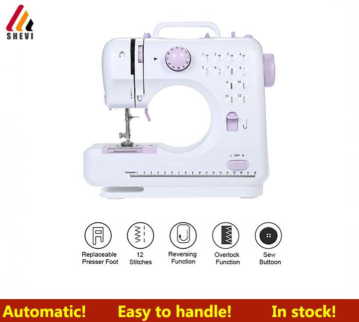 Shevi Home Tool 12Stitches Automatic Sewing Machine Knitting Machine Multifunction Presser UK plug purple